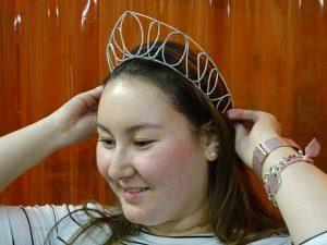 Erin trying on tiara