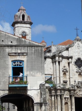 Blue balcony in the Plaza de la Catedral