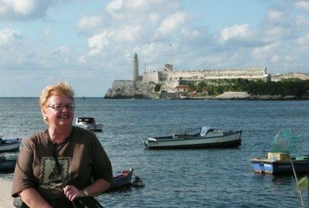 Phyllis along the promenade in Havana
