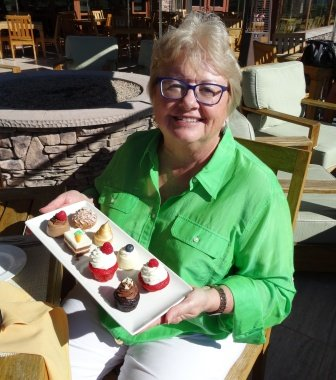 Phyllis with mini desserts