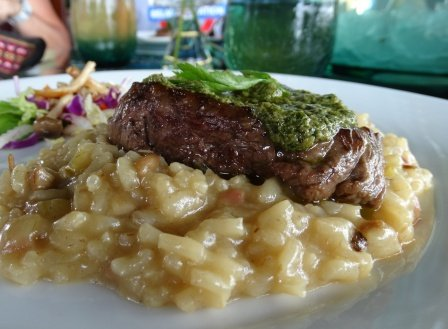 9 Grilled tenderloin on smoked mushroom ham risotto