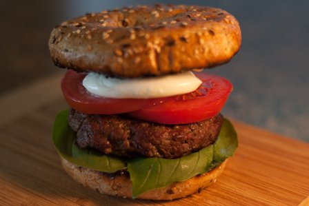 Basil Balsamic Bagel Burger