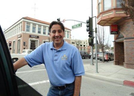 Hollister Mayor Ignacio Velazquez greets San Benito County visitors on his lunch break