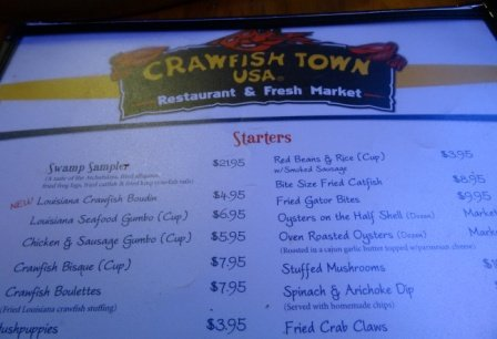 The Crawfish Town USA menu
